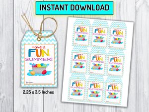Water Balloons, Squirt Water Gun Summer Tags, [INSTANT DOWNLOAD] - TitaTipsPrintables