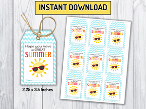Have a Great Summer Tags, Sun Classmates Gifts Ideas, [INSTANT DOWNLOAD] - TitaTipsPrintables