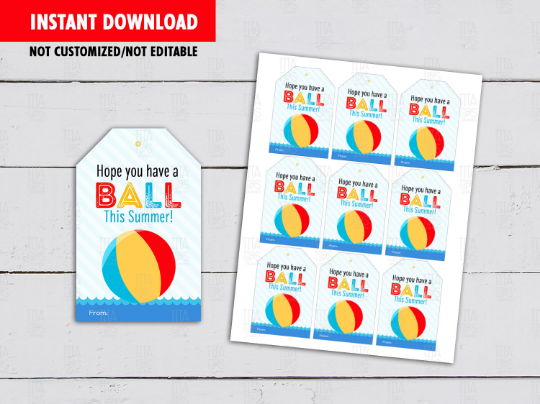 Have a BALL this Summer Gift Tags, Beach Favors Cards, Classmates Exchange Ideas [INSTANT DOWNLOAD] - TitaTipsPrintables