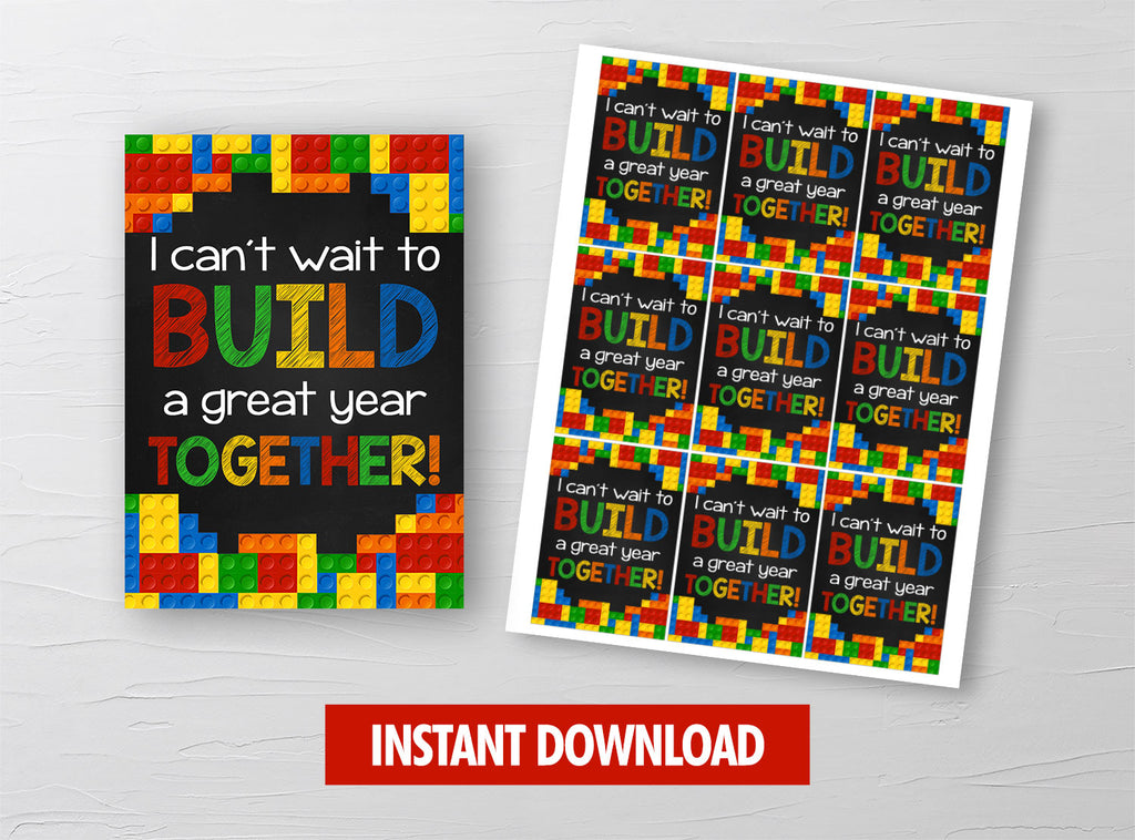 I can't wait to BUILD a Great Year Together Gift Tag, Building Bricks, Lego Classmates Exchange Cards Ideas [INSTANT DOWNLOAD] - TitaTipsPrintables