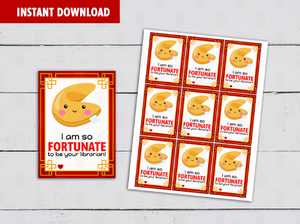 So Fortunate to be your Librarian Card, Chinese Fortune Cookie, Gift Tag Ideas  [INSTANT DOWNLOAD] - TitaTipsPrintables