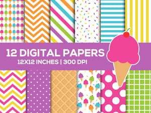 Ice Cream Digital Paper Set, Summerbackgrounds, Commercial Use [INSTANT DOWNLOAD] - TitaTipsPrintables