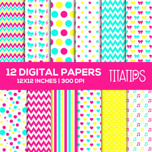 Stripes, polka dots, Chevron Digital Paper Set, hearts Pattern, stars Scrapbooking, Commercial Use [INSTANT DOWNLOAD] - TitaTipsPrintables
