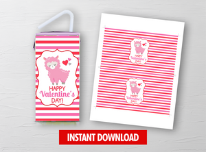 Valentine's LLAMA Juice Box Wrapper, Drink Label Gift Idea, Printable Digital Template, INSTANT DOWNLOAD - TitaTipsPrintables