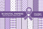 Cancer Awareness Digital Papers, Lavender Ribbon Patterns, Commercial Use [INSTANT DOWNLOAD]