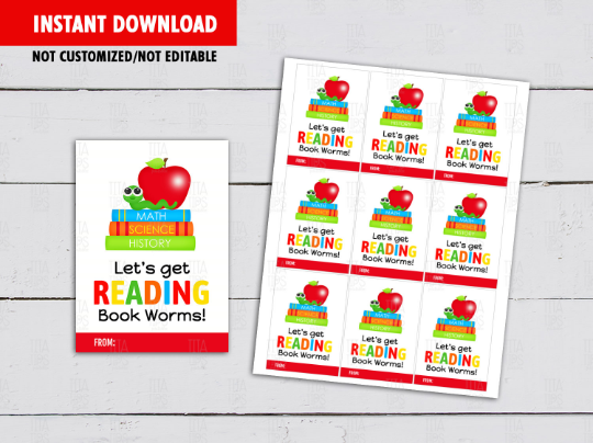 Let's get reading Book worms Gift Tag, Gummy Worms Card Classmates Exchange Ideas [INSTANT DOWNLOAD] - TitaTipsPrintables