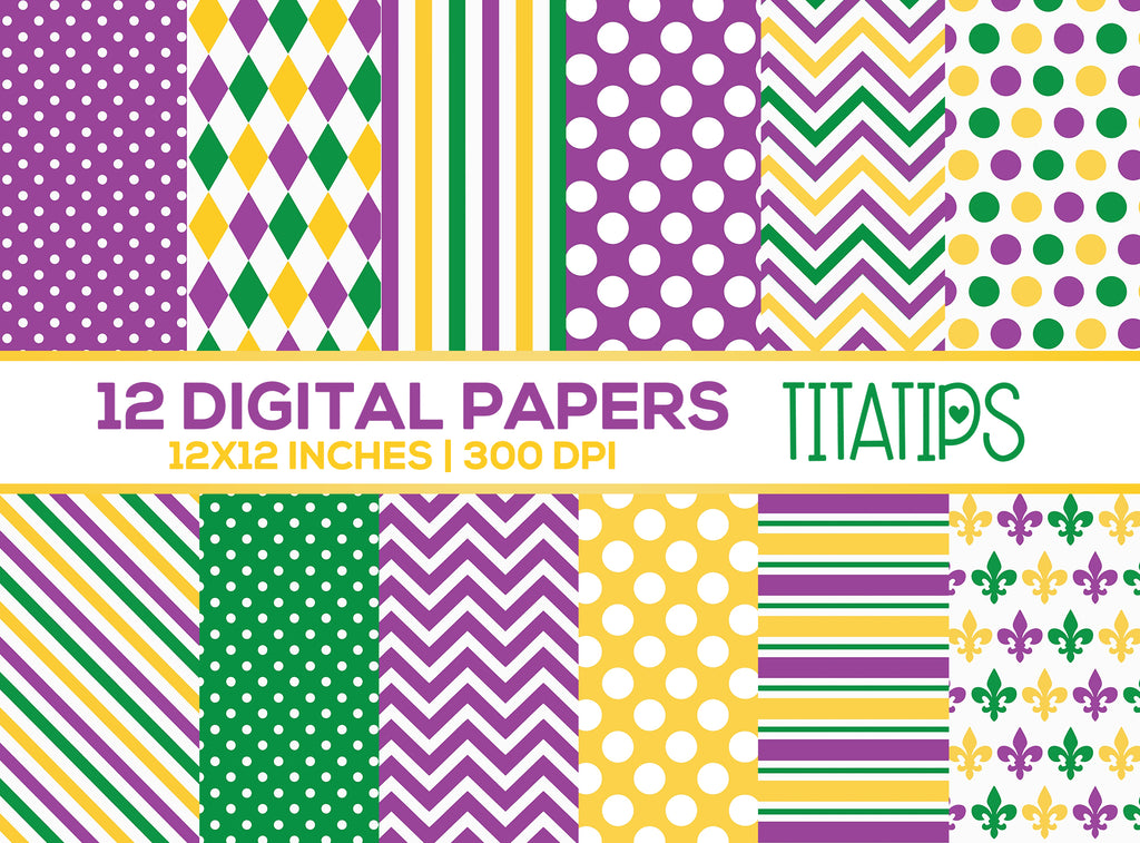 Mardi Gras Digital Paper Set, Stripes, Polka Dots, Chevron, Carnival Digital backgrounds, Commercial Use [INSTANT DOWNLOAD] - TitaTipsPrintables