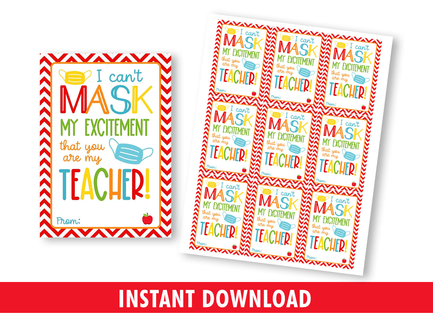 Can't MASK my excitement you're my TEACHER gift tag, Face Mask Favors card. [INSTANT DOWNLOAD] - TitaTipsPrintables