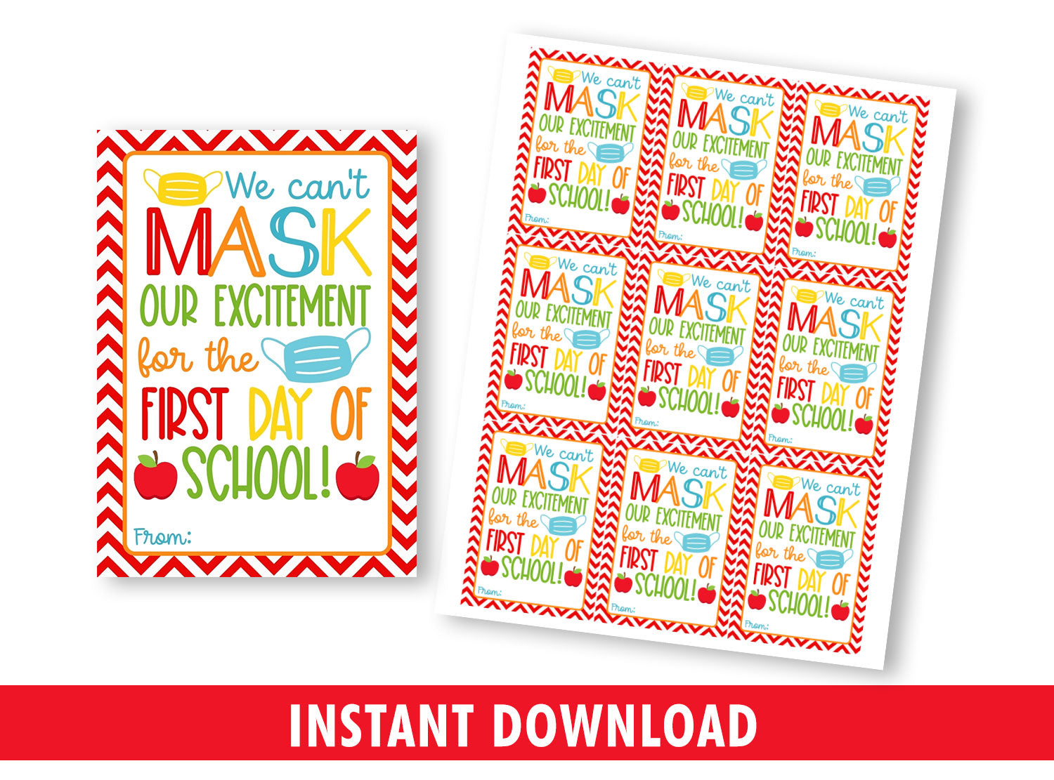 Can't MASK my excitement for first day of school gift tag, Face Mask Favors Card, [INSTANT DOWNLOAD] - TitaTipsPrintables