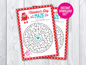 Valentine's Day Maze Puzzle Printable Game for Kids, Monster Classroom Games and Activities, INSTANT DOWNLOAD - TitaTipsPrintables