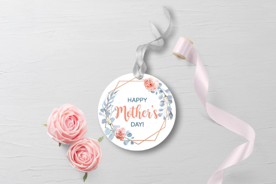 Happy Mother's Day Sticker, Watercolor Flower Wreath Round Label, Dusty Blue and Rose Circle Gift Tag  [INSTANT DOWNLOAD] - TitaTipsPrintables