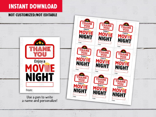 Enjoy a Movie Night Card, Teacher Appreciation Gift Tag Ideas  [INSTANT DOWNLOAD] - TitaTipsPrintables