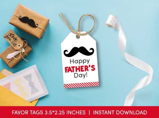 Happy Father's Day Gift Tag, Red Mustache Favors Card [INSTANT DOWNLOAD] - TitaTipsPrintables
