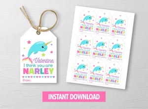 You are Narley Valentine's Day Card, Narwhal Gift Tags, School Exchange Ideas, INSTANT DOWNLOAD - TitaTipsPrintables