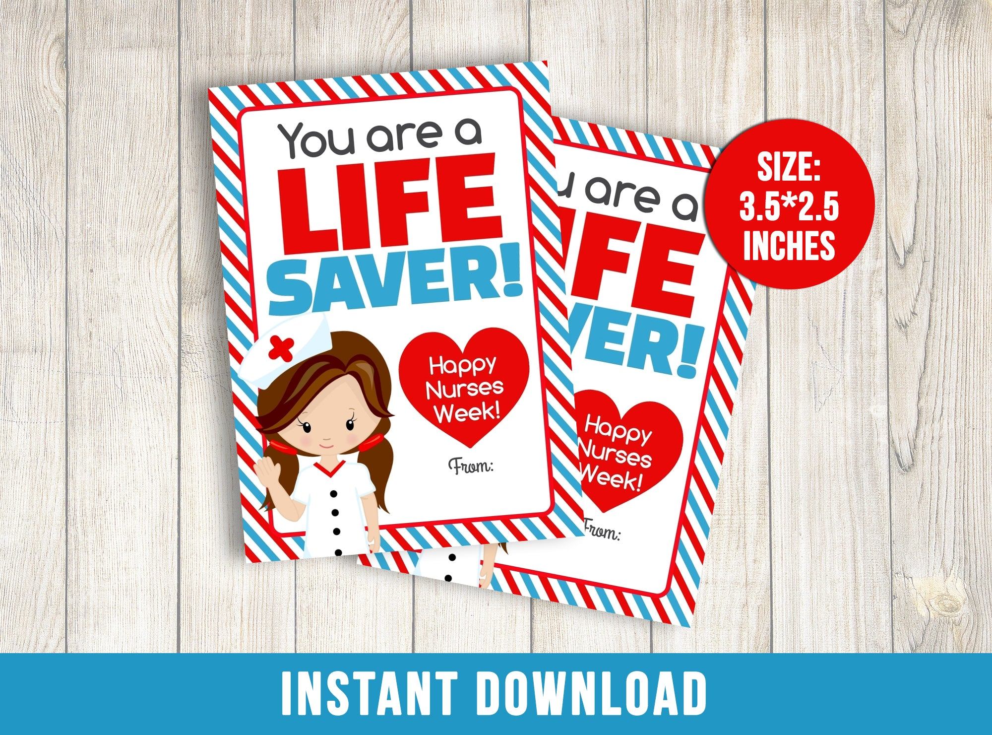 Lifesaver Nurse Appreciation Day Card, Healthcare Heroes Thank you Gift Tags, Doctor, Hospital, Medical INSTANT DOWNLOAD - TitaTipsPrintables