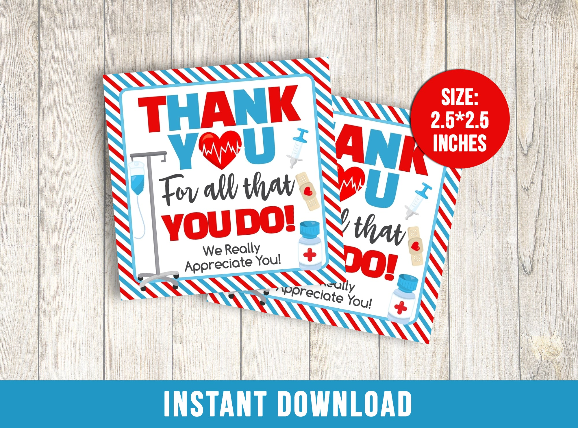 Nurse Appreciation Day Card, Healthcare Heroes Square Gift Tags, Doctor, Hospital, Medical INSTANT DOWNLOAD - TitaTipsPrintables