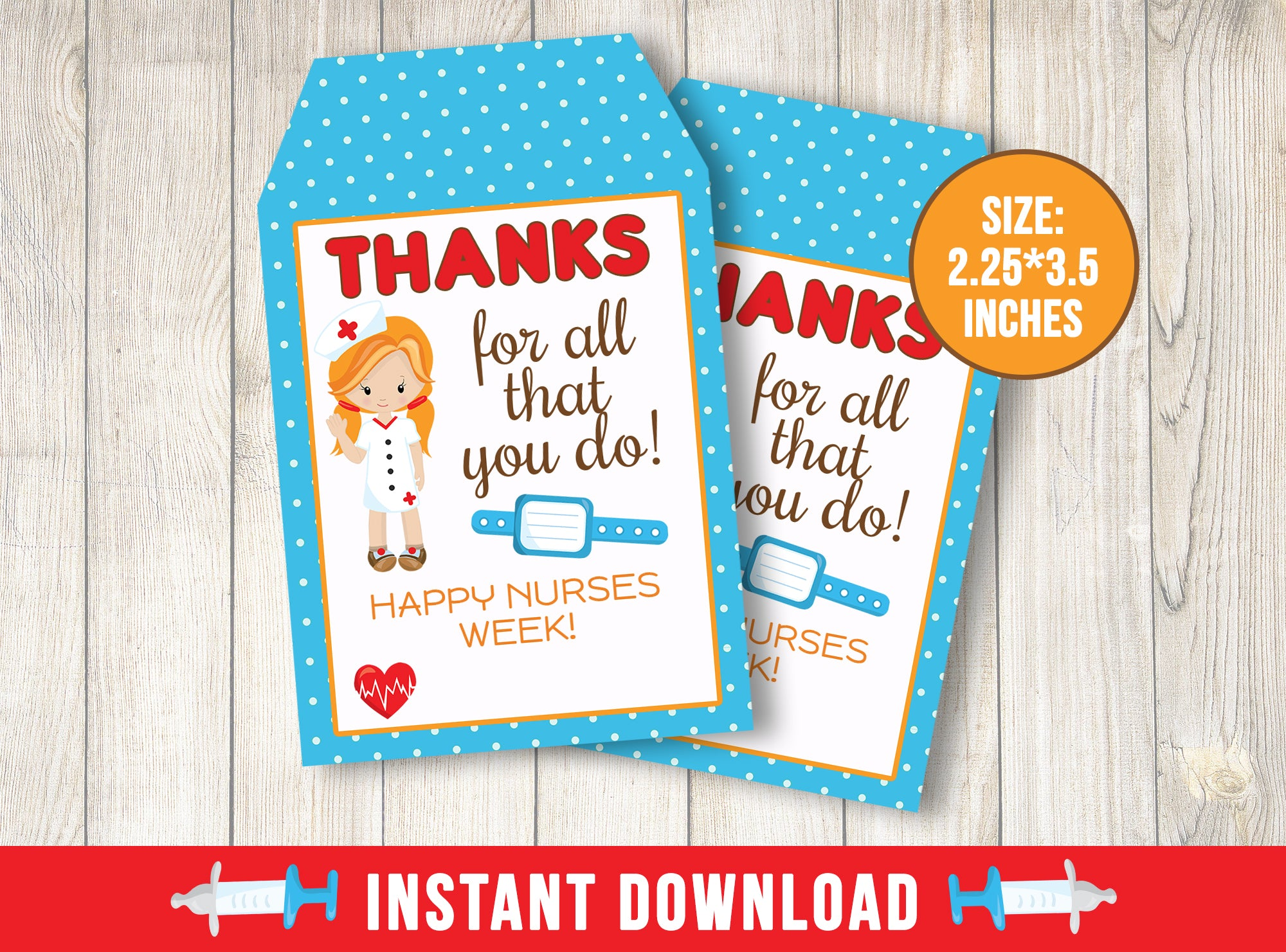 Nurse Appreciation Day Card, Healthcare Heroes Thank You Gift Tags, Doctor, Hospital, Medical INSTANT DOWNLOAD - TitaTipsPrintables