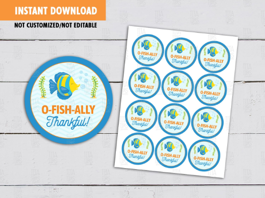 o-FISH-ally Sticker, Fish Bowl Round Label, Circle Favors Tag [INSTANT DOWNLOAD] - TitaTipsPrintables