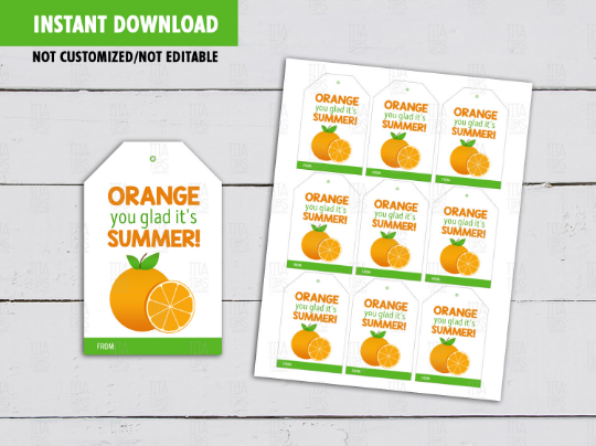 Orange you glad it's Summer Gift Tags, Orange Juice Label, Classmates Exchange Gift Tag Ideas [INSTANT DOWNLOAD] - TitaTipsPrintables