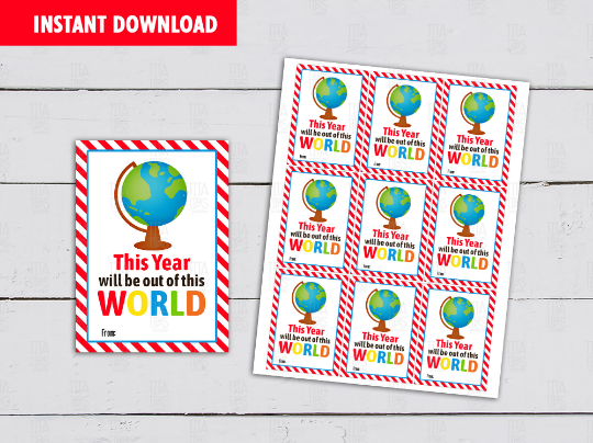 This year will be out of this WORLD Gift Tag, Classmates Exchange Cards Ideas [INSTANT DOWNLOAD] - TitaTipsPrintables