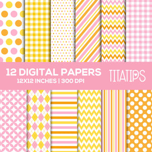 Baby Duck Digital Paper Set, It's a Girl Digital backgrounds, Pink, Yellow and Orange Commercial Use [INSTANT DOWNLOAD] - TitaTipsPrintables