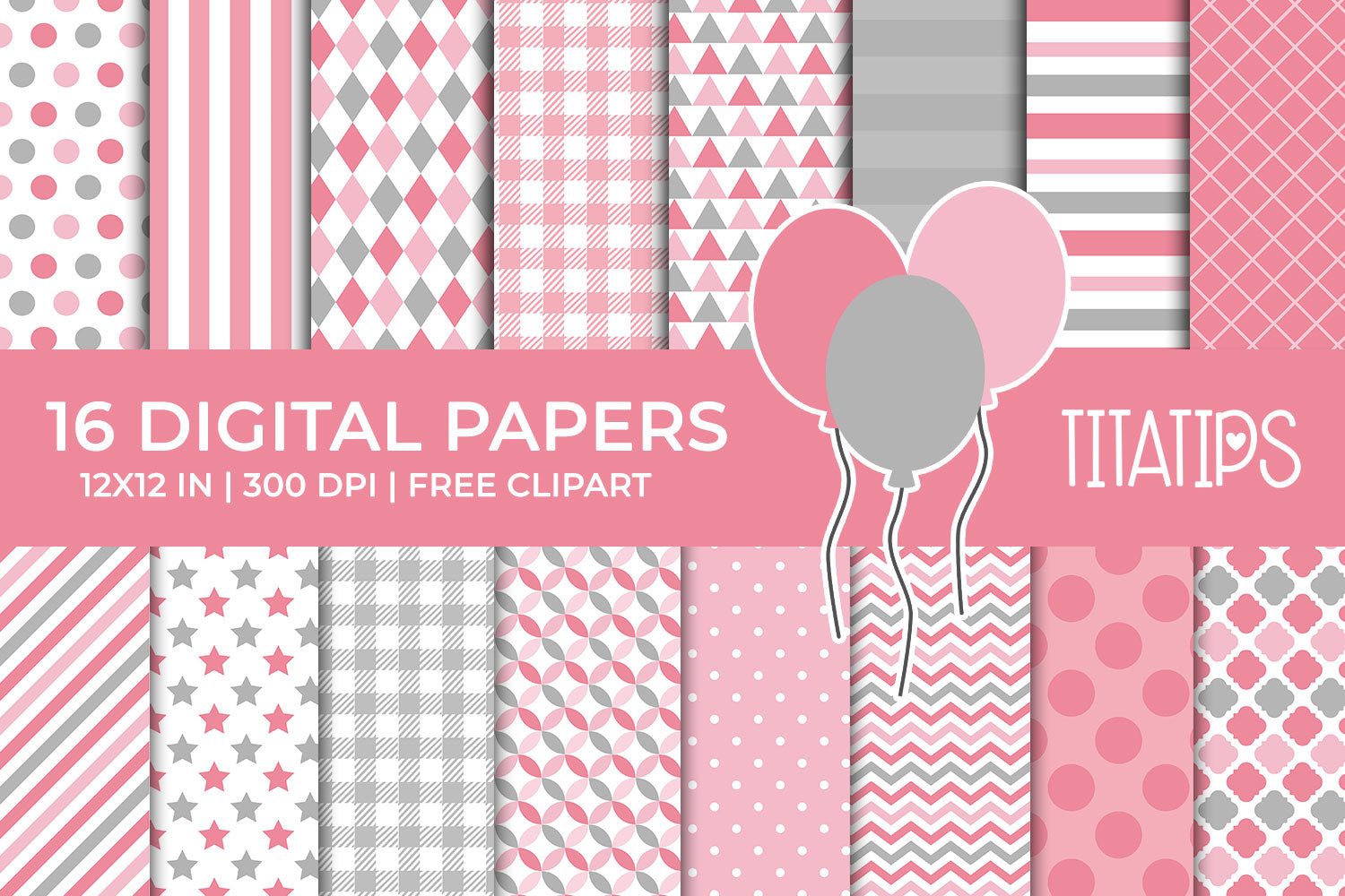 Light Pink and Gray Digital Paper Set, Commercial Use [INSTANT DOWNLOAD] - TitaTipsPrintables