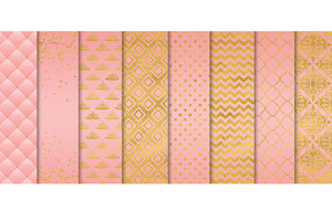 Pink and Foil Gold Digital Papers Set, Princess Commercial Use [INSTANT DOWNLOAD] - TitaTipsPrintables