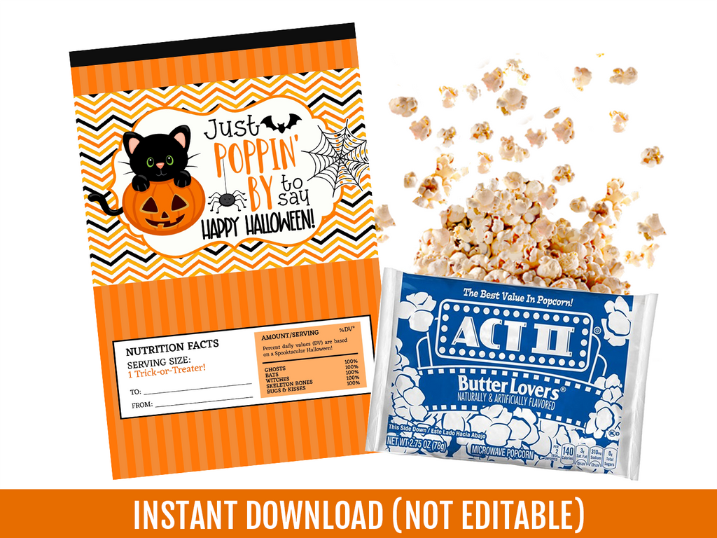 Just Poppin' By to say HAPPY HALLOWEEN Microwave Popcorn Wrapper, School Exchange Ideas