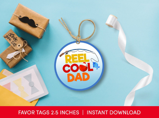 Happy Father's Day Sticker, Reel Cool Dad Round Label, Fishing Circle Tag Ideas [INSTANT DOWNLOAD] - TitaTipsPrintables