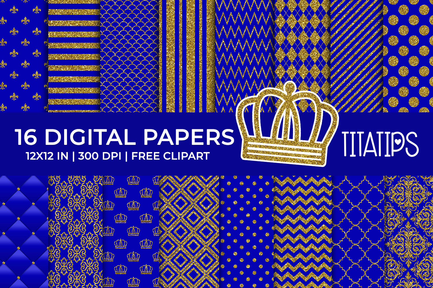 Royal Blue and Gold Glitter Digital Papers Set, Commercial Use [INSTANT DOWNLOAD] - TitaTipsPrintables