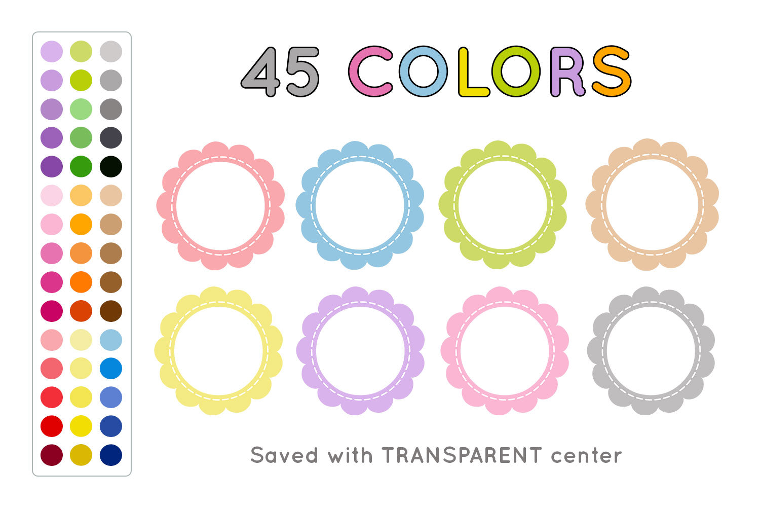 Scalloped Circle Frames Clipart, Commercial Use [INSTANT DOWNLOAD] - TitaTipsPrintables
