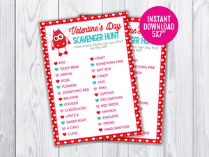 Valentine's Day Scavenger Hunt Printable Game for Kids, Monster Classroom Games and Activities, INSTANT DOWNLOAD - TitaTipsPrintables