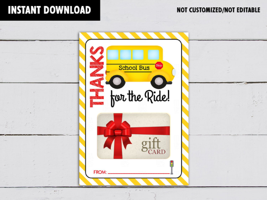Thanks for the Ride, School Bus Driver Appreciation Gift Card Holder  [INSTANT DOWNLOAD] - TitaTipsPrintables