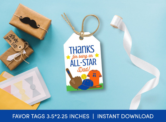 Thanks for bening an ALL STAR Dad Gift Tag, Softball Favors Card, Happy Father's Day [INSTANT DOWNLOAD] - TitaTipsPrintables