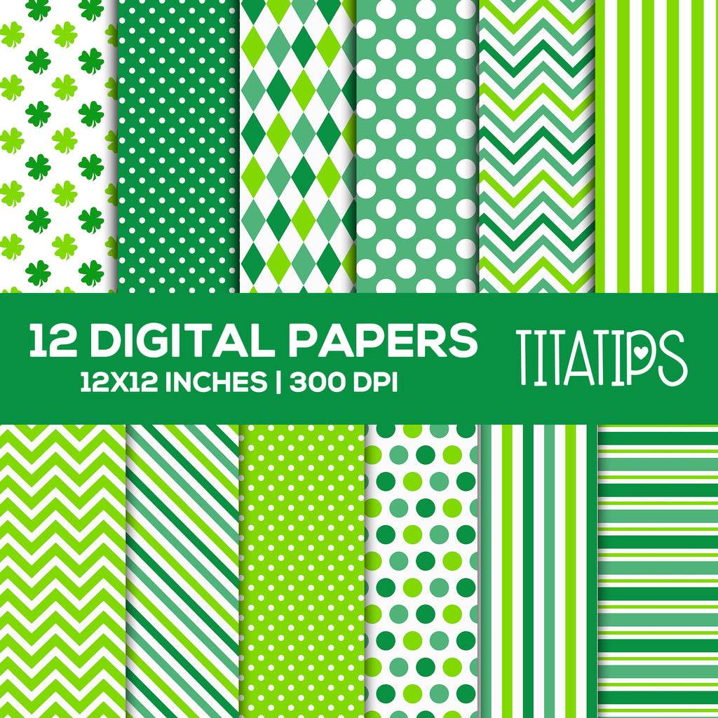 St. Patrick's Day Green Digital Paper Set, Stripes, Polka Dots, Chevron, Clover, Shamrock Digital backgrounds, Commercial Use [INSTANT DOWNLOAD] - TitaTipsPrintables