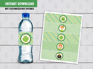 St. Patrick's Day Water Bottle Label, Irish Shamrock, Hat, Pot of Gold Wrapper, INSTANT DOWNLOAD - TitaTipsPrintables
