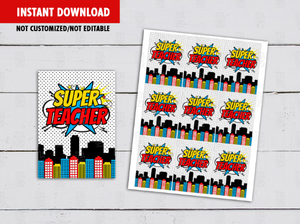 Super Teacher Card, Superhero Gift Tag Ideas  [INSTANT DOWNLOAD] - TitaTipsPrintables
