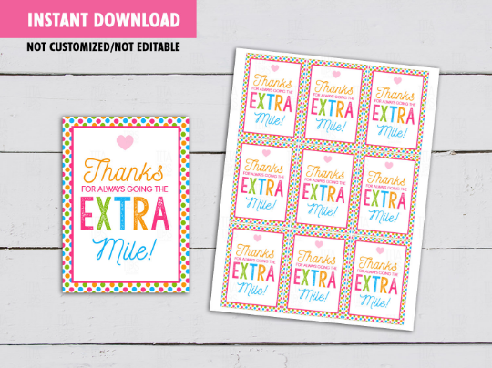 Thanks for always going the Extra Mile Gift Tag, Extra Gum Teacher Appreciation Card,  [INSTANT DOWNLOAD] - TitaTipsPrintables