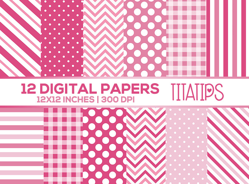Pink Digital Paper Set, Stripes, Polka Dots, Chevron, Digital backgrounds, Commercial Use [INSTANT DOWNLOAD] - TitaTipsPrintables