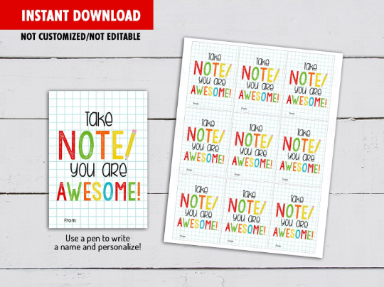 Take note your are Awesome Card, Notepad Sheet Gift Tag Ideas  [INSTANT DOWNLOAD] - TitaTipsPrintables