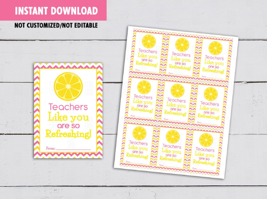 Teacher like you are so refreshing Card, Lemonade Gift Tag Ideas  [INSTANT DOWNLOAD] - TitaTipsPrintables
