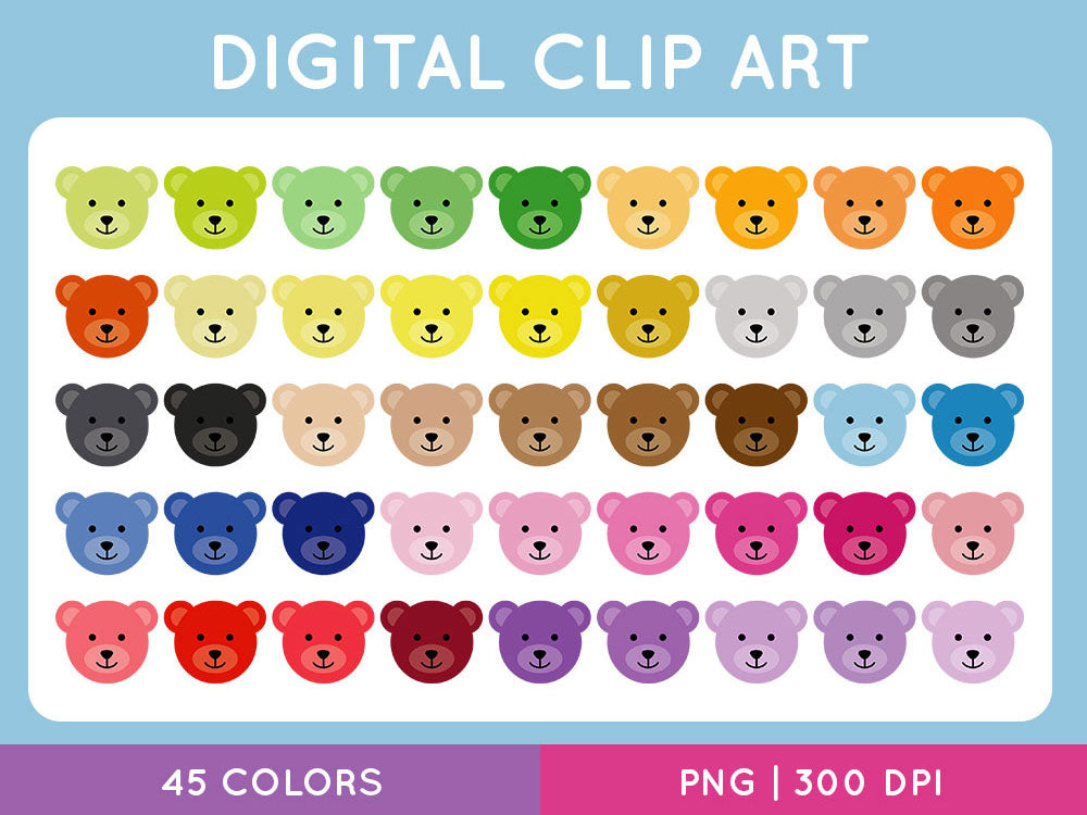 Teddy Bear Head Clipart, Rainbow Bear Faces Graphics, School Crafts, Commercial Use [INSTANT DOWNLOAD] - TitaTipsPrintables