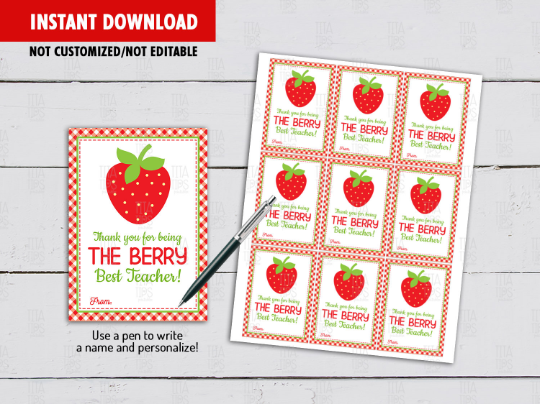 Thank You For Being The Berry Best Teacher Gift Tag, Strawberry Fruit Card  [INSTANT DOWNLOAD] - TitaTipsPrintables