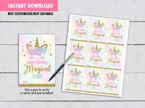 Thank you for a Magical Year Gift Tags, Unicorn Favors, Classmates Exchange Card Ideas [INSTANT DOWNLOAD] - TitaTipsPrintables