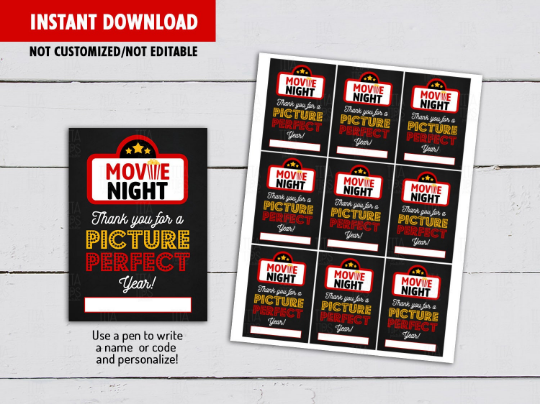 Thank you for a Picture Perfect Year Gift Tag, Movie Night Card  [INSTANT DOWNLOAD] - TitaTipsPrintables