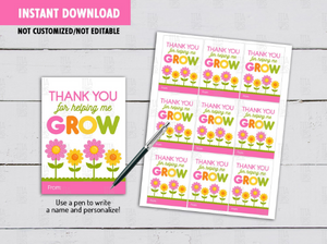 Thank you for helping me GROW gift tag, Flowers Teacher Appreciation Card  [INSTANT DOWNLOAD] - TitaTipsPrintables