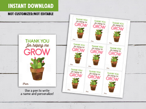 Thank you for helping me GROW gift tag, Watercolor Cactus Teacher Appreciation Card  [INSTANT DOWNLOAD] - TitaTipsPrintables