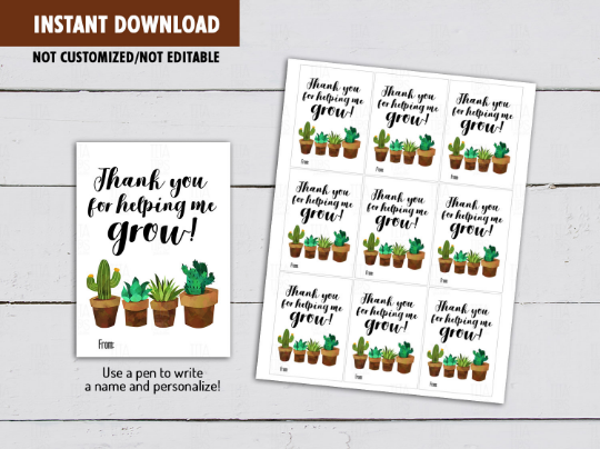 Thanks for helping me GROW gift tag, Watercolor Cactus Teacher Appreciation Card  [INSTANT DOWNLOAD] - TitaTipsPrintables