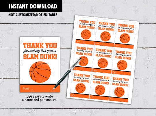 Thank you for making this year SLAM DUNK Gift Tags, Basketball Coach Favors, Classmates Exchange Card Ideas [INSTANT DOWNLOAD] - TitaTipsPrintables