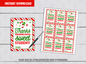 Thanks For Being Such A Sweet Student Gift Tag, Candy Cane Printable Favor Tags, Instant Download - TitaTipsPrintables